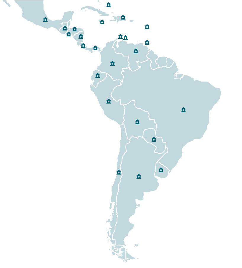 mapa de latinoamerica con sedes de phv